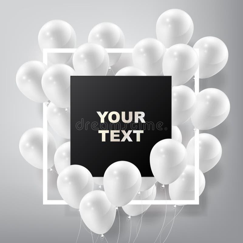 Fliegende realistische glatte weiße Ballone mit quadratischem schwarzem freiem Raum und Rahmen, feiern Konzept auf weißem Hinterg lizenzfreie abbildung