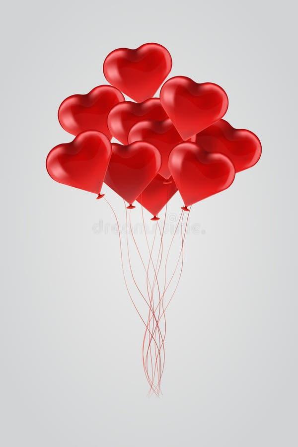 Fliegende rote Ballone in Form des Herzens auf grauem Hintergrund vektor abbildung