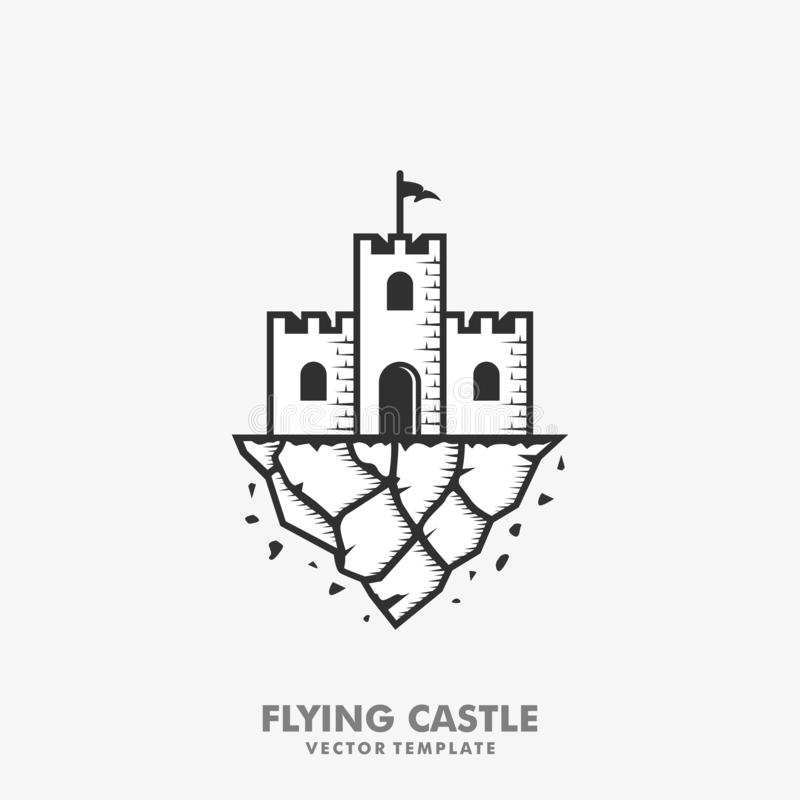 Fliegende Schloss-Konzeptillustrationsvektor Entwurfsschablone stock abbildung