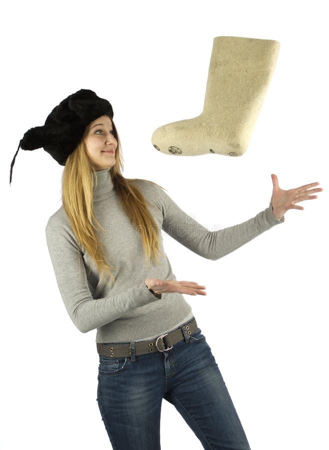 Fliegende traditionelle Winterfußbekleidung stockfoto