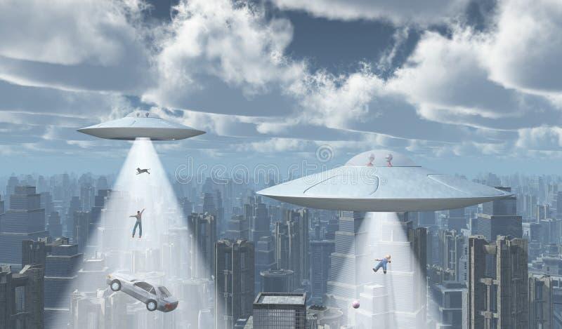 Fliegende Untertassen über einer Großstadt lizenzfreie abbildung