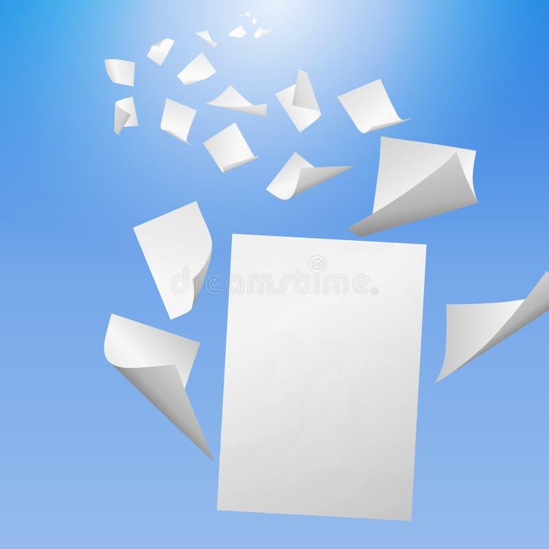 Fliegende weiße leere Blätter Papier stock abbildung