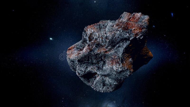 Fliegender Asteroid, Meteorit zur Erde Weibliches Portrait gegen abstrakte Hintergründe armageddon Wiedergabe 3d lizenzfreie stockbilder