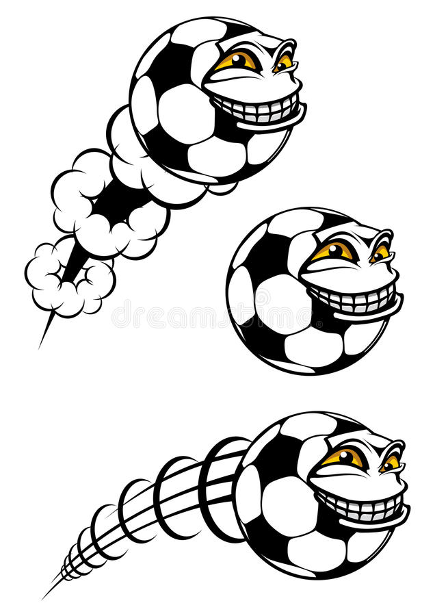 Fliegender cartooned Fußball- oder Fußballball lizenzfreie abbildung