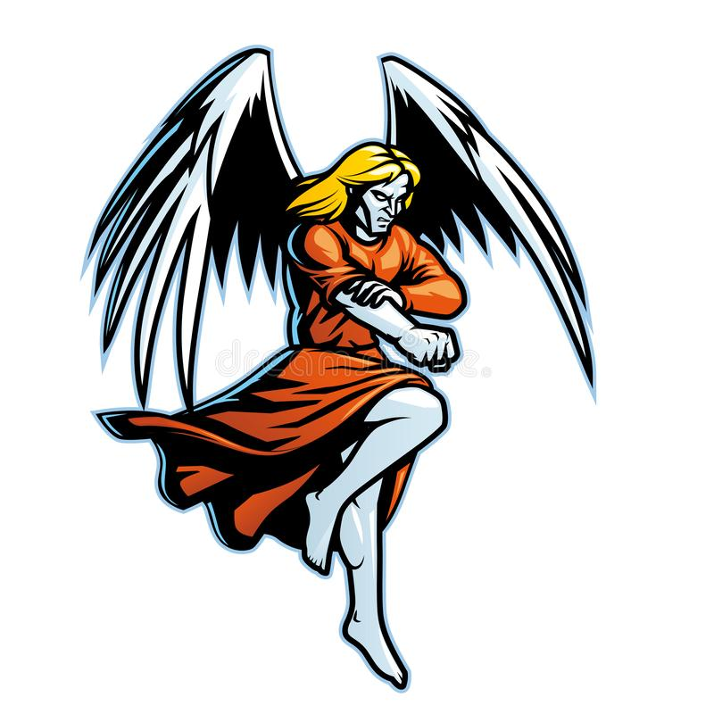 Fliegender Engel bereit zum Kampf stock abbildung