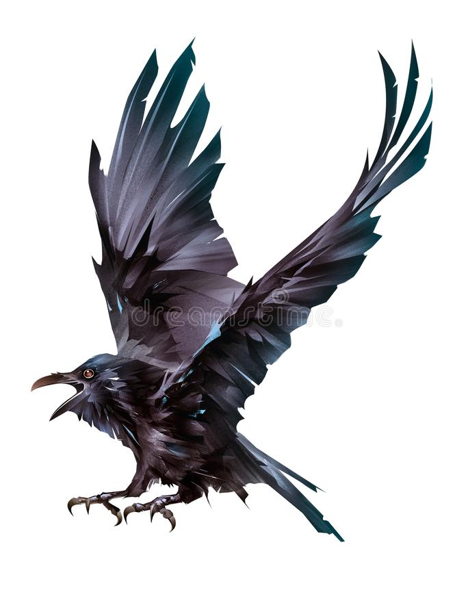 Fliegender farbiger Vogel malte Raben auf einem weißen Hintergrund stock abbildung