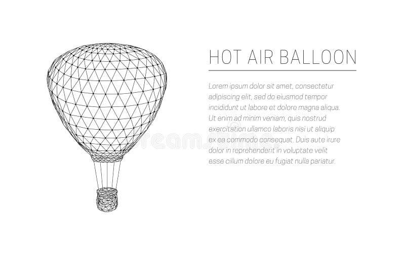 Fliegender Heißluftballon Niedriges Polydesign vektor abbildung