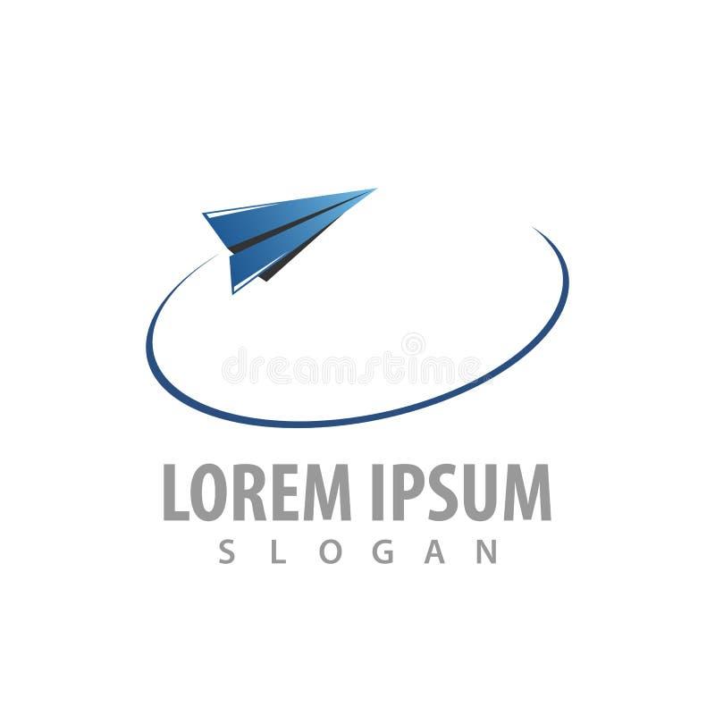 Fliegender Logo-Konzeptentwurf des Papiers flacher Schablonen-Elementvektor des Symbols grafischer lizenzfreie abbildung