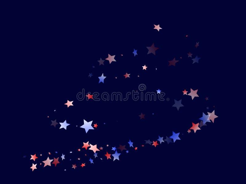Fliegender roter blauer weißer Stern funkelt amerikanischer patriotischer Hintergrund des Vektors stock abbildung