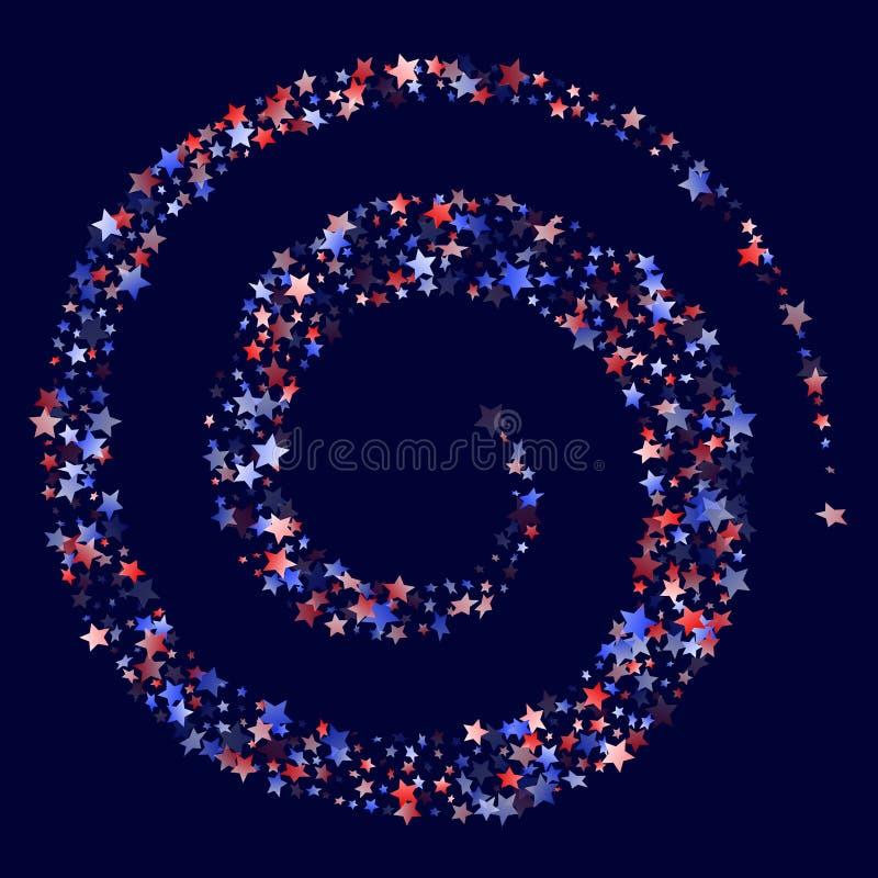 Fliegender roter blauer weißer Stern funkelt amerikanischer patriotischer Hintergrund des Vektors lizenzfreie abbildung