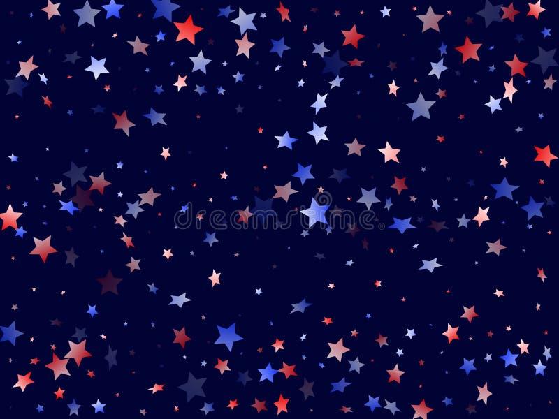 Fliegender roter blauer weißer Stern funkelt amerikanischer patriotischer Hintergrund des Vektors vektor abbildung