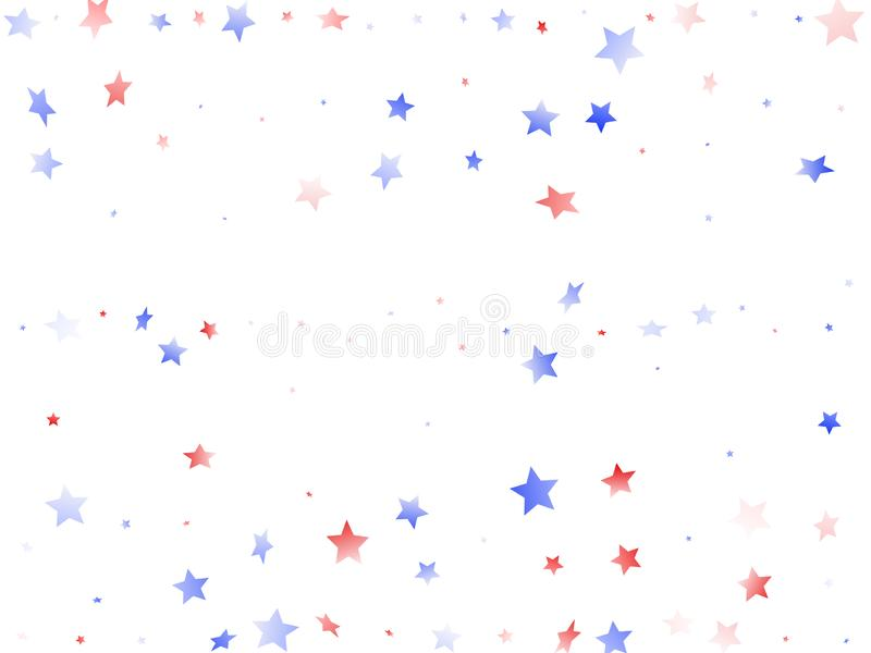 Fliegender roter blauer weißer Stern funkelt auf amerikanischem patriotischem Hintergrund des weißen Vektors lizenzfreie abbildung
