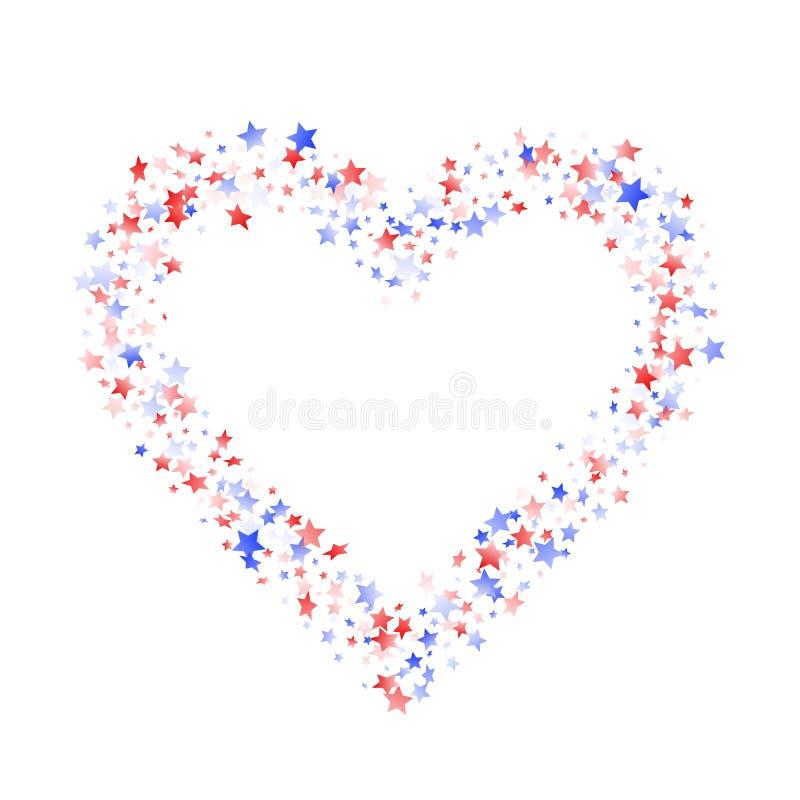 Fliegender roter blauer weißer Stern funkelt auf amerikanischem patriotischem Hintergrund des weißen Vektors vektor abbildung