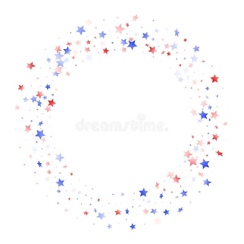 Fliegender roter blauer weißer Stern funkelt auf amerikanischem patriotischem Hintergrund des weißen Vektors stock abbildung