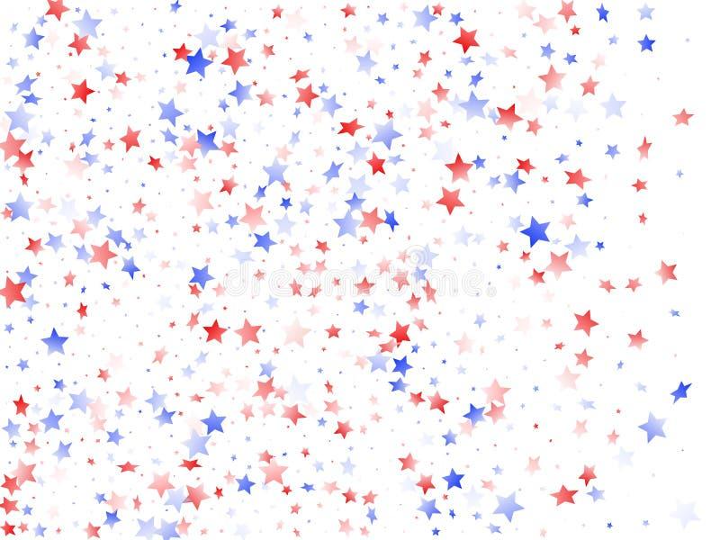 Fliegender roter blauer weißer Stern funkelt auf Weiß lizenzfreie abbildung