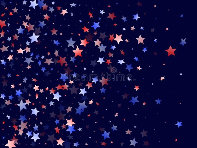 Fliegender roter blauer weißer Stern funkelt Vektor lizenzfreie abbildung
