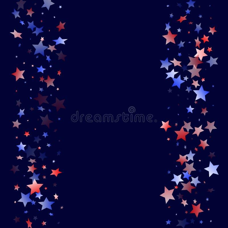 Fliegender roter blauer wei?er Stern funkelt amerikanischer patriotischer Hintergrund des Vektors stock abbildung