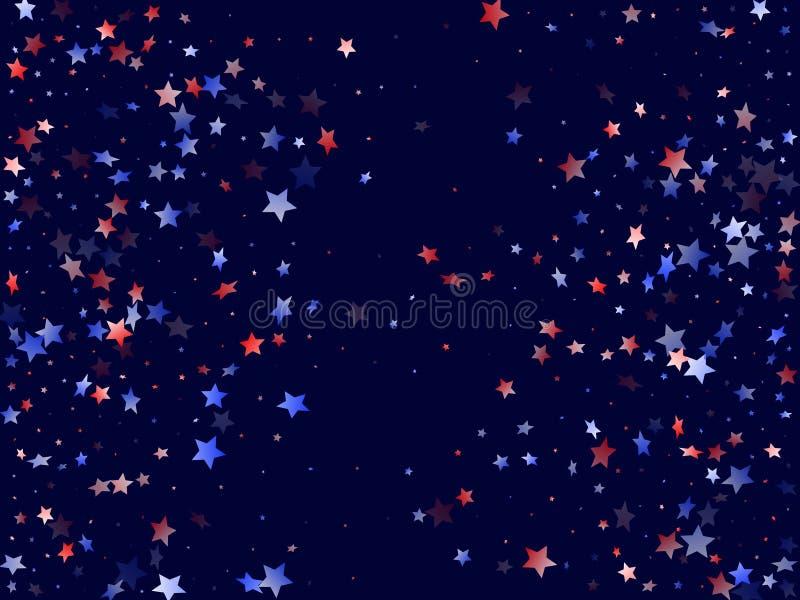 Fliegender roter blauer wei?er Stern funkelt amerikanischer patriotischer Hintergrund des Vektors lizenzfreie abbildung