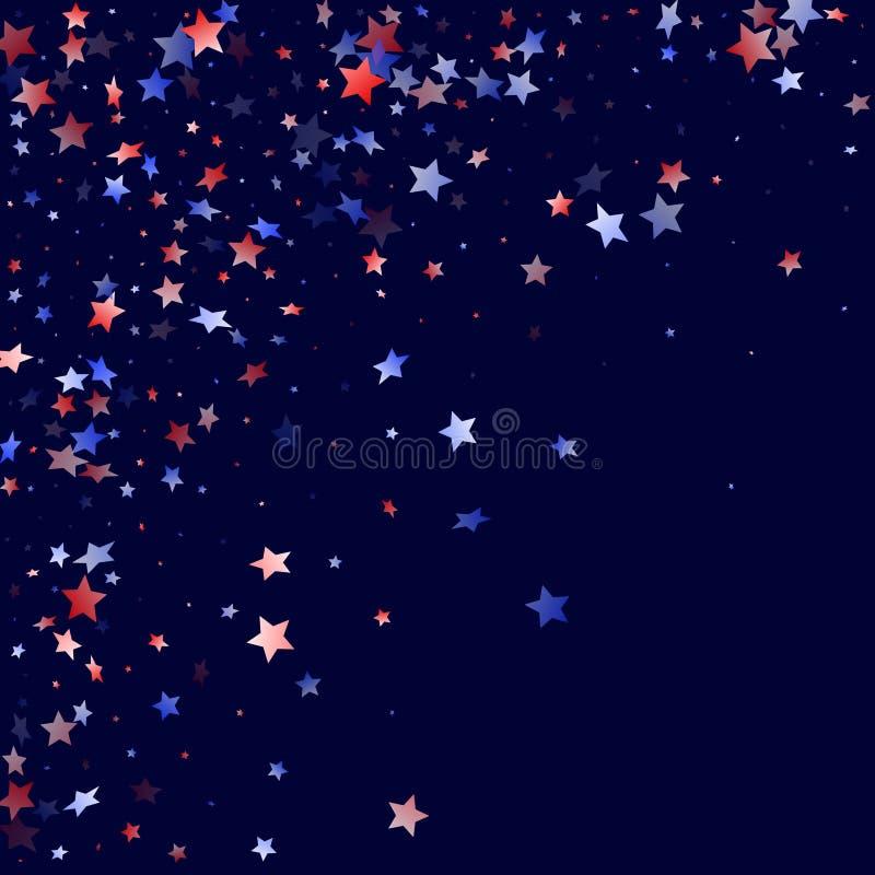 Fliegender roter blauer wei?er Stern funkelt amerikanischer patriotischer Hintergrund des Vektors vektor abbildung