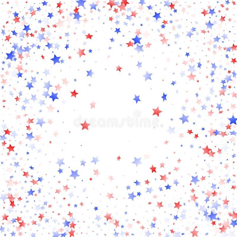 Fliegender roter blauer wei?er Stern funkelt auf amerikanischem patriotischem Hintergrund des wei?en Vektors stock abbildung