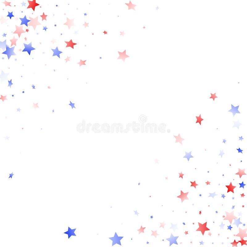 Fliegender roter blauer wei?er Stern funkelt auf amerikanischem patriotischem Hintergrund des wei?en Vektors vektor abbildung
