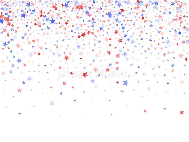 Fliegender roter blauer wei?er Stern funkelt auf amerikanischem patriotischem Hintergrund des wei?en Vektors lizenzfreie abbildung