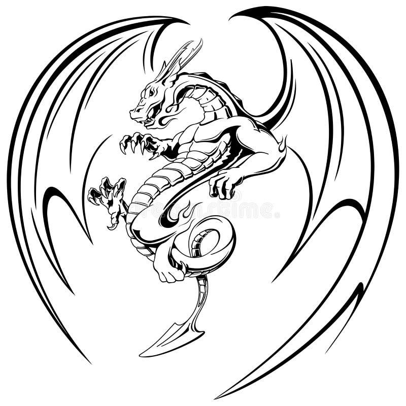 Fliegender schwarzer Drache mit Flügeltätowierung, Vektorillustration vektor abbildung