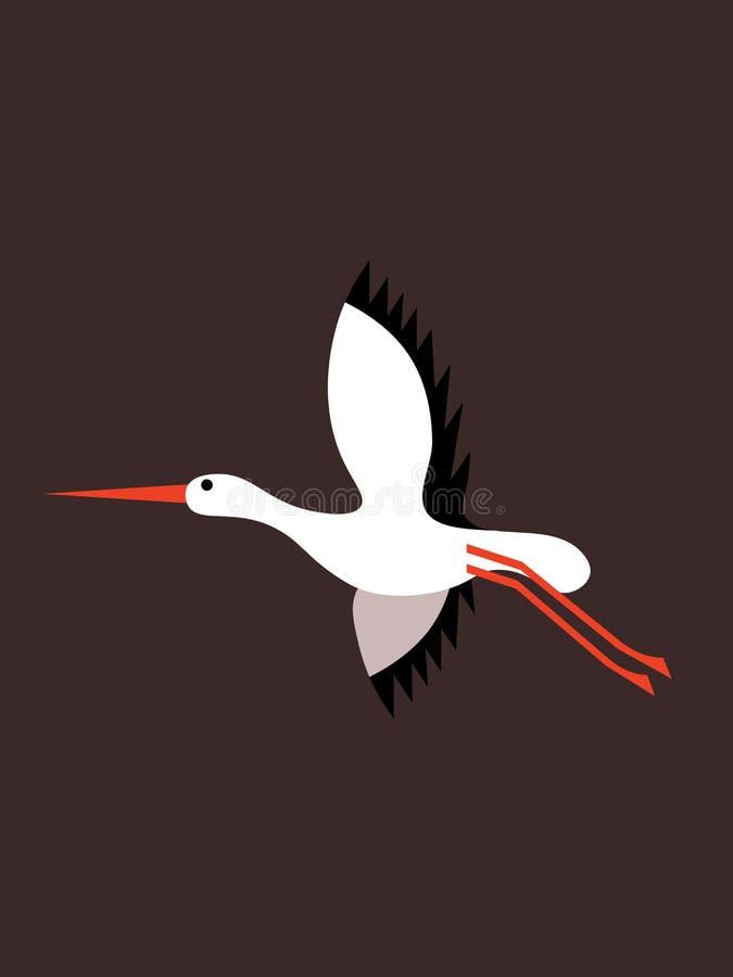 Fliegender Storch auf einem dunklen Hintergrund vektor abbildung