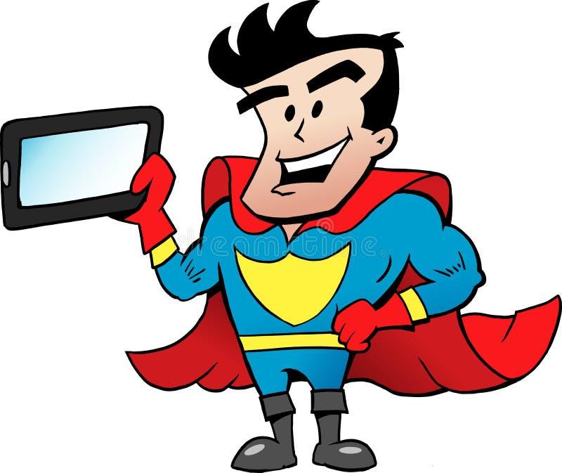 Fliegender Superheld, der eine Tablette hält lizenzfreie abbildung