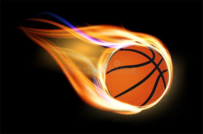 Fliegender und brennender Basketballball auf schwarzem Hintergrund stock abbildung