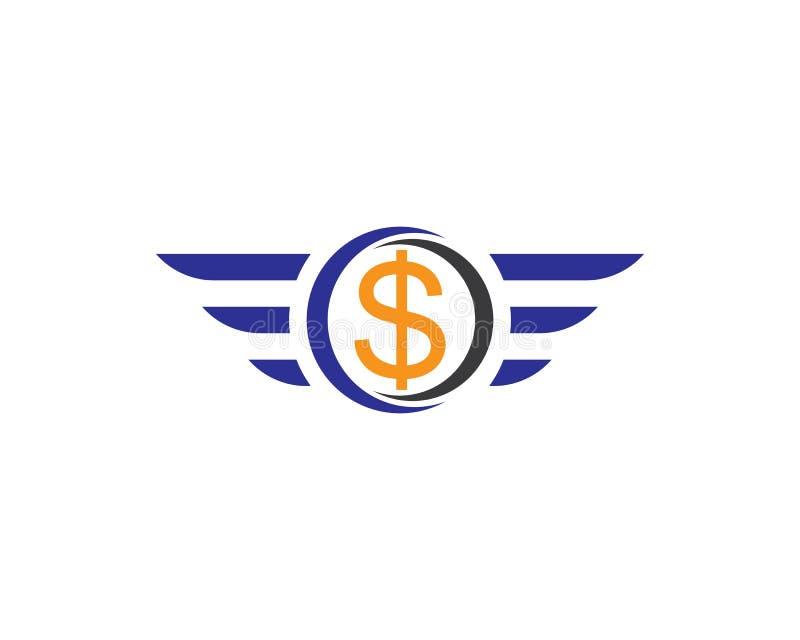 Fliegendes Dollarzeichen mit Flügel lokalisierter Vektorillustration lizenzfreie abbildung