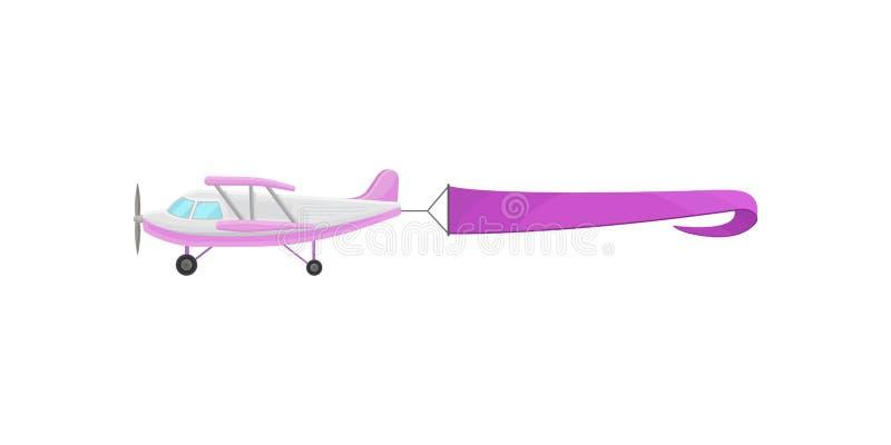 Fliegendes Flugzeug mit purpurroter horizontaler Werbungsfahne vector Illustration auf einem weißen Hintergrund vektor abbildung