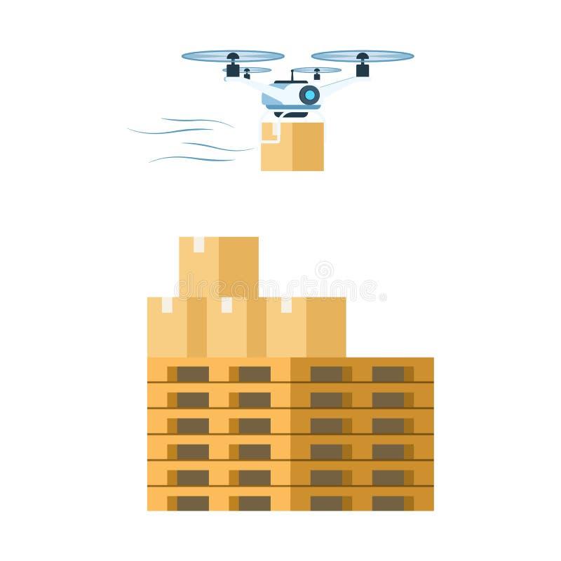 Fliegendes Luft-Brummen, das Papppaket liefert vektor abbildung