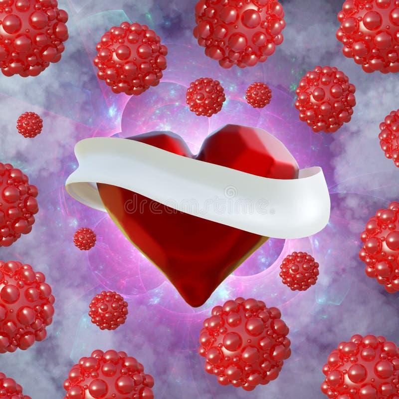 Fliegendes Rot hackte Herz mit dem weißen Band und den molekularen Bereichen herum Copyspace für Illustration des Text Valentinsg lizenzfreie abbildung