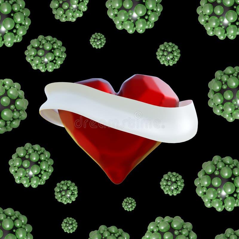 Fliegendes Rot hackte Herz mit dem weißen Band und den molekularen Bereichen herum Copyspace für Illustration des Text Valentinsg stock abbildung