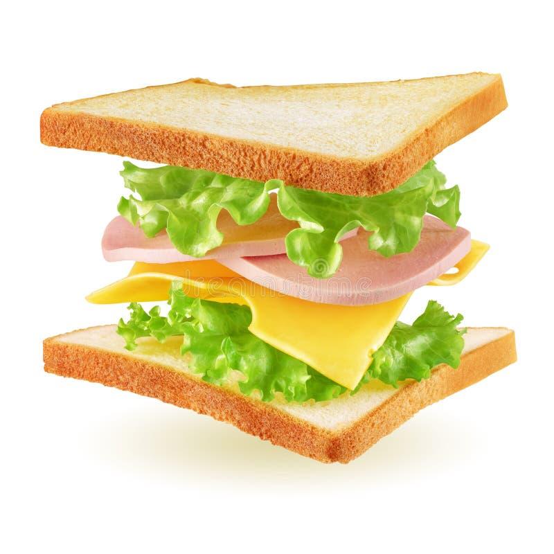 Fliegendes Sandwich lokalisiert lizenzfreie stockfotos