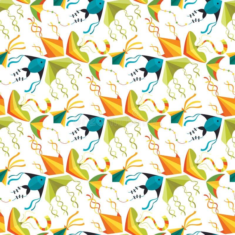 Fliegendrachenschlangen-Schlangendrache scherzt der bunten Muster-Hintergrundvektor Sommertätigkeit des Spielzeugs im Freien naht vektor abbildung