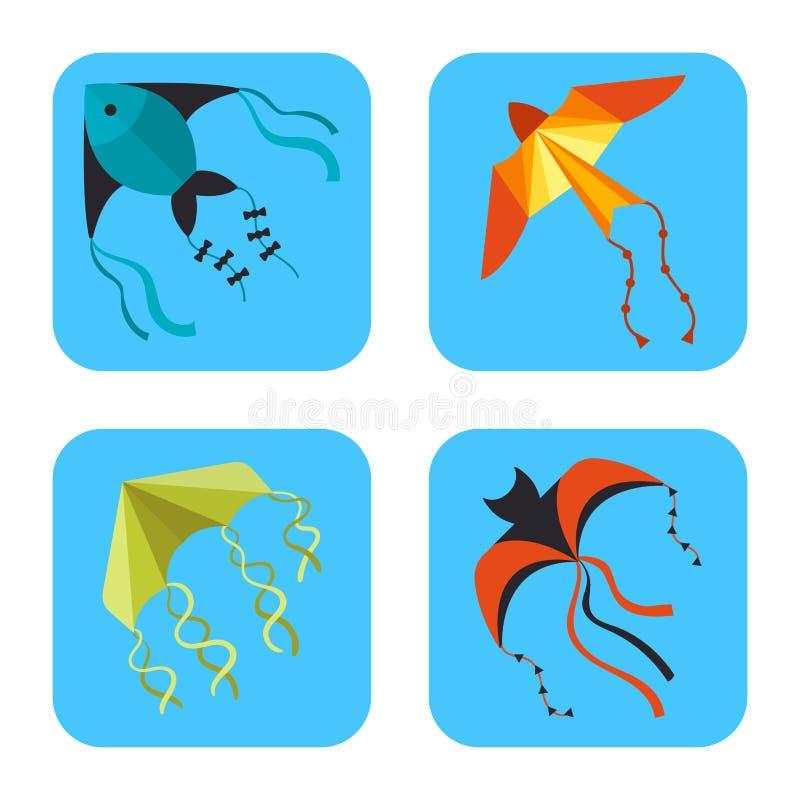 Fliegendrachenschlangen-Schlangendrache scherzt Sommertätigkeits-Vektorillustration der bunten Karte des Spielzeugs im Freien stock abbildung