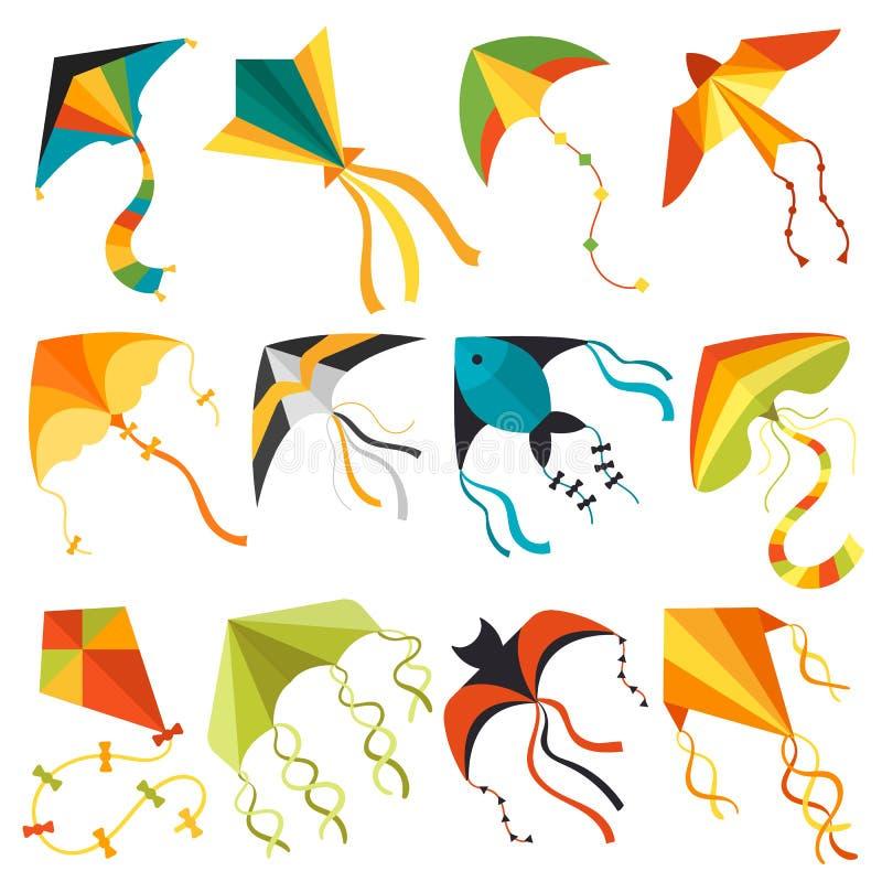 Fliegendrachenwindspaßspielzeugfliegenfreuden-Vektorillustration stock abbildung