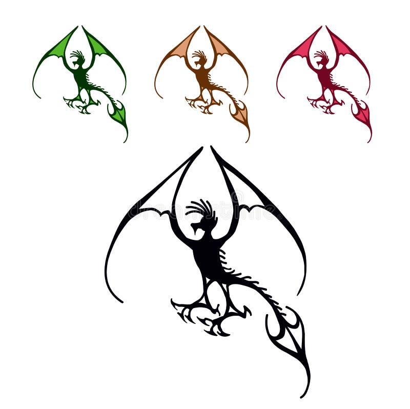 Fliegendrachesymbol, schwarzes dekoratives Emblem stockfoto