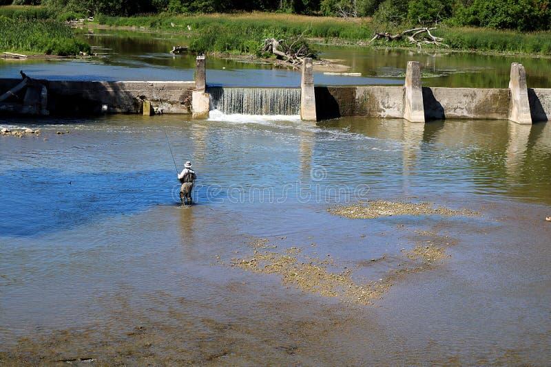 Fliegenfischen im ruhigen Wasser stockbild