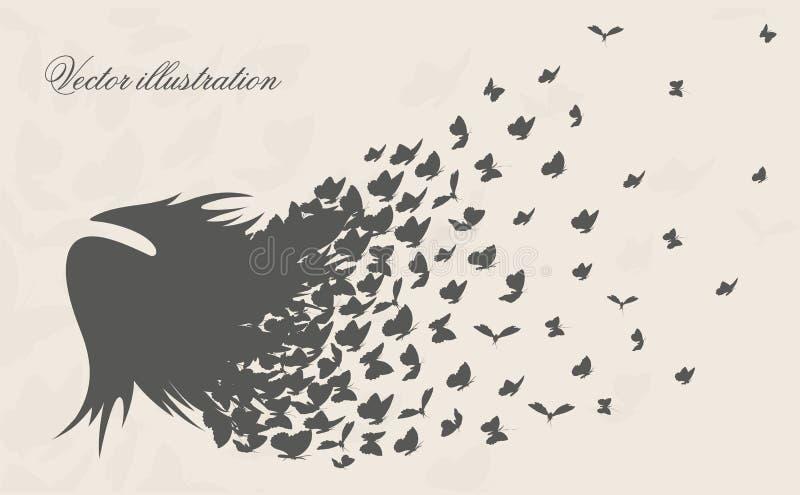 Fliegenflügel und Schwarm von Schmetterlingen lizenzfreie abbildung