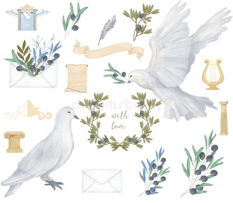 Fliegenfriedenstaube der Taube und des Aquarellvogels des olivgrünen antiken Postensatzcliparts digitale zeichnende für Heiratsfe lizenzfreie abbildung