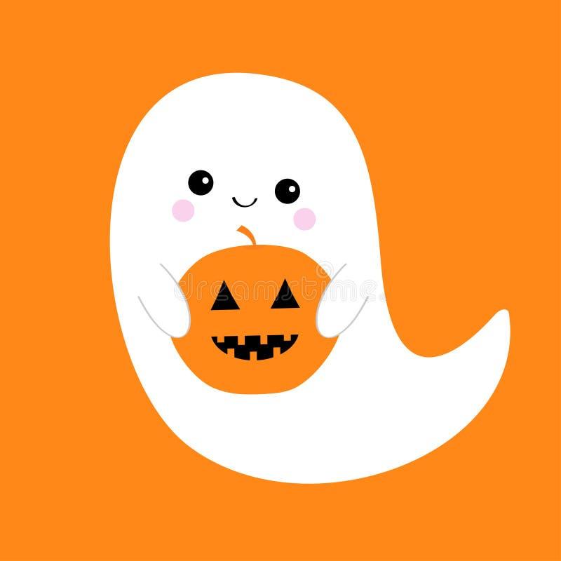 Fliegengeistgeist, der Kürbis Buh hält Glückliches Halloween Furchtsame weiße Geister Gespenstischer Babycharakter der netten Kar vektor abbildung