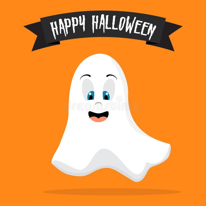 Fliegengeistgeist Glückliches Halloween Furchtsame weiße Geister Gespenstischer Charakter der netten Karikatur Orange Hintergrund stock abbildung