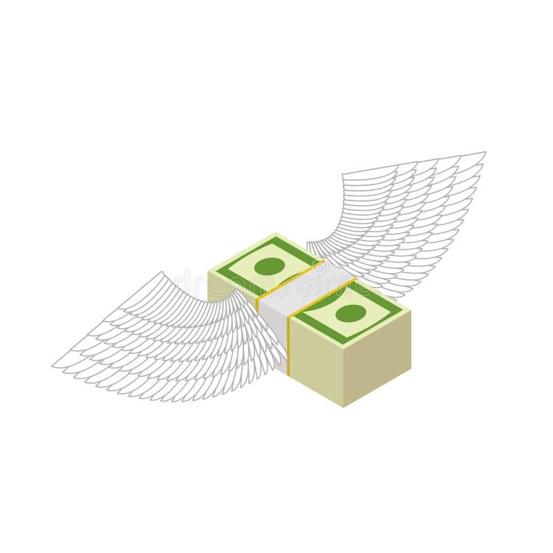 Fliegengeld Bargeld mit Flügeln Finanzeinkommen und Kommen querneigung stock abbildung