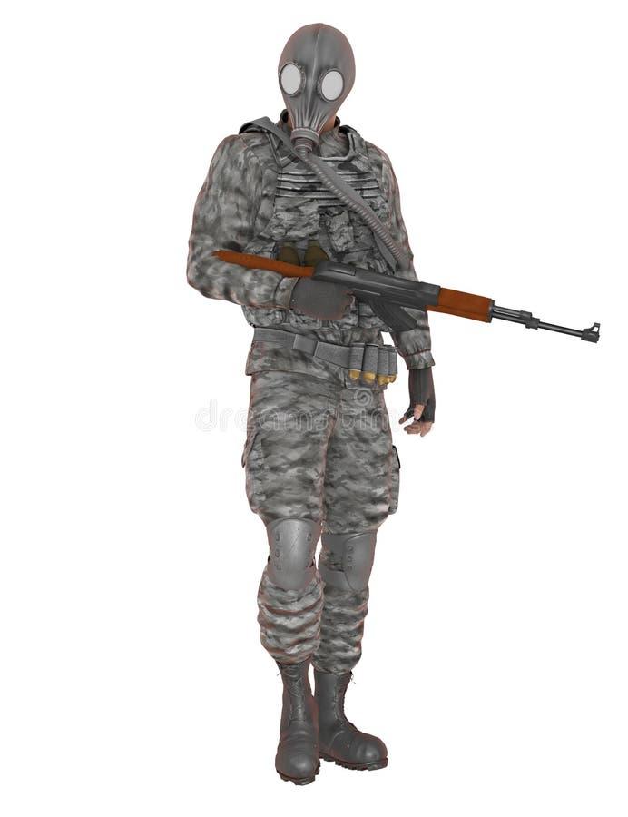 FLIEGENKLATSCHE-Soldat mit Gewehr vektor abbildung