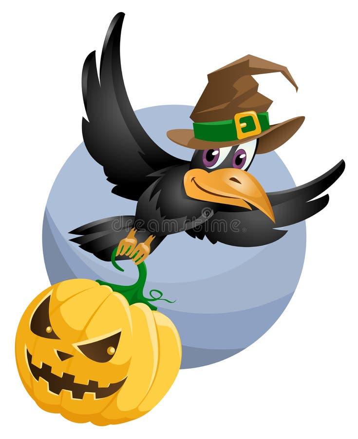 Fliegenkrähe in einem Halloween-Hut hält den Halloween-Kürbis lizenzfreie abbildung