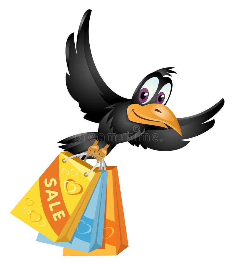 Fliegenkrähe trägt die Einkaufstaschen vom Verkauf vektor abbildung