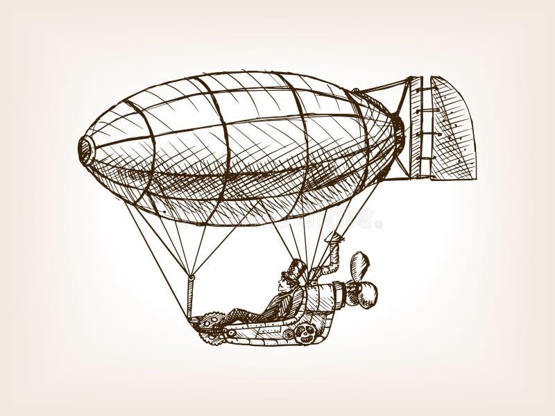 Fliegenluftschiff-Skizzenvektor Steampunk mechanischer stock abbildung